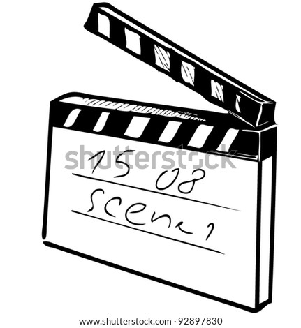 Clapperboard on white background - stock vector