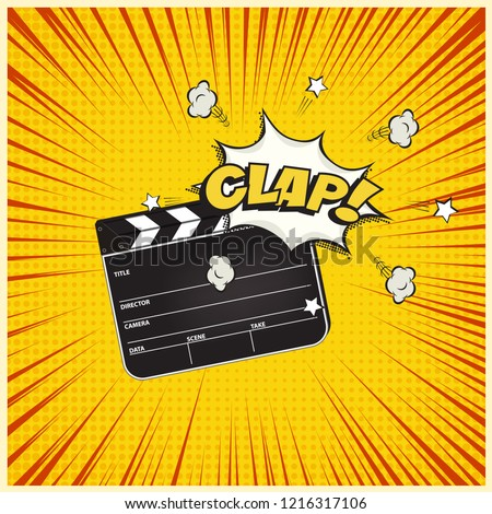 clapperboard with clap word