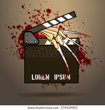 clapperboard with razor glove