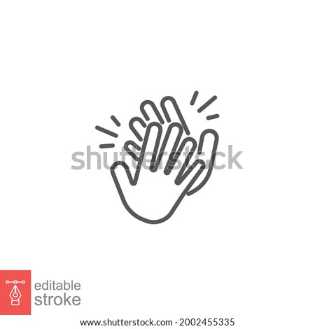 Clapping hand icon. Clap your hands. Hand clap for applause gesture logo. standing ovation Cheerful appreciation for web and app. editable stroke Vector illustration design on white background. EPS 10