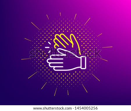 Clapping hands line icon. Halftone pattern. Clap sign. Victory gesture symbol. Gradient background. Clapping hands line icon. Yellow halftone pattern. Vector #1454005256