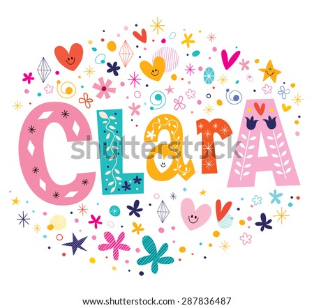 clara girls name decorative