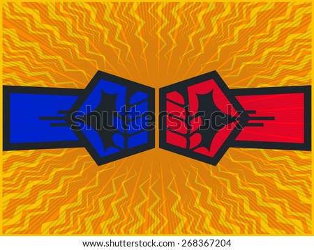Clashing fists, two opposite forces clashing, fist bump, fight or confrontation concept vector design