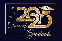 Class graduation banner 2020. Complimentary ticket. Congratulations to graduates, award concept.