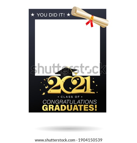 Class of 2021 black and gold design template for graduation photo booth props. Congratulations graduates frame for selfie. Realistic Vector illustration for high school or university grad ceremony.