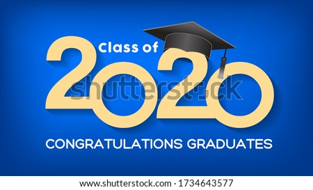 Class of 2020. Congrats Graduates. Lettering Graduation logo. Template for graduation design, party, high school or college graduate, yearbook,Vector illustration EPS.10