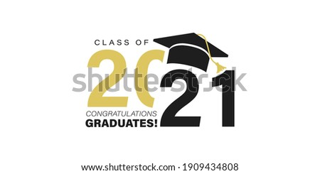Class of 2021. Congratulations graduates typography design with black and gold colors. Modern template for graduation ceremony, stamp, seal, print, shirt. Congrats graduates stock vector illustration