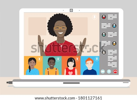 Class of diverse young children remotely studying online using web app. Schoolkids and dark skin female teacher at lesson laptop screen.  School distance education during coronavirus covid-19 pandemic