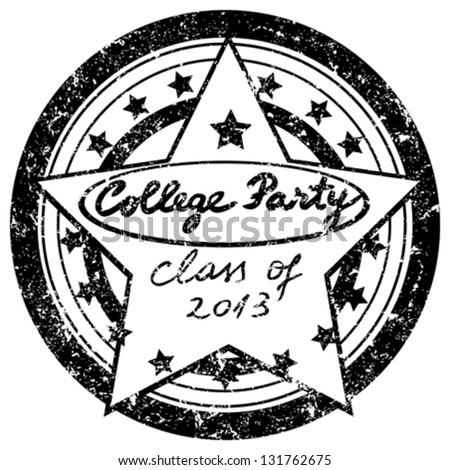 class of 2013 graduation party announcement, college stamp isolated on white
