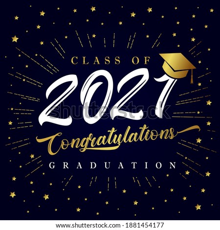 Class of 2021 graduation poster with golden star glitter confetti. Class of 20 and 21 congratulations graduate design with decoration gold beams for cards, invitations or banner