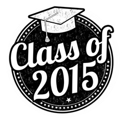 Class of 2015 grunge rubber stamp on white, vector illustration