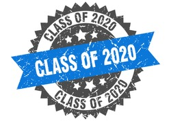 class of 2020 grunge stamp with blue band. class of 2020