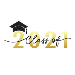 Class of 2021 handwriting. Congratulations Graduates Class 2021. Template for graduation design.isolated on white background ,Vector illustration EPS 10