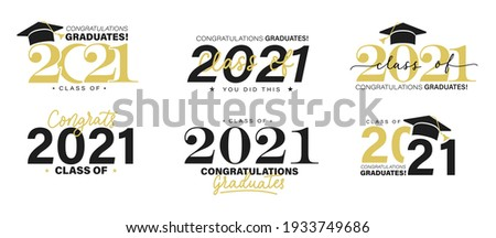 Class of 2021 vector badges set.Congrats graduates concept. Black, gold and white graduation logo collection.Stock vector illustration for shirts,prints,cards,invitations,seal or stamp.Grad labels set
