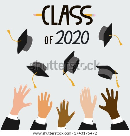 Class of 2020, vector illustration with multi-ethnic people group, graduate's hands throwing graduation caps. Hand drawn graduation season graphic design for graduation card, invitation, banner, flyer