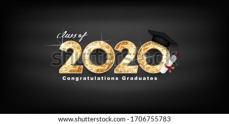 Class of 2020 Vector text for graduation gold design, congratulation event, T-shirt, party, high school or college graduate. bold lettering for greeting, invitation card