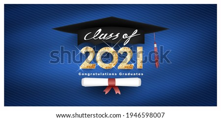 Class of 2021 Vector text for graduation gold design, congratulation event, T-shirt, party, high school or college graduate. Lettering for greeting, invitation card