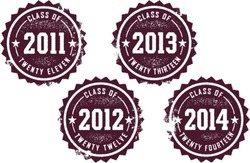 Class of 2011, 2012, 2013, 2014 Vintage Style Stamps