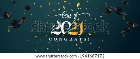 Class of 2021 with graduation cap. 2021 Graduation Cap Banner. Congrats graduation calligraphy lettering. Vector banner template for design party high school or college, graduate invitations.