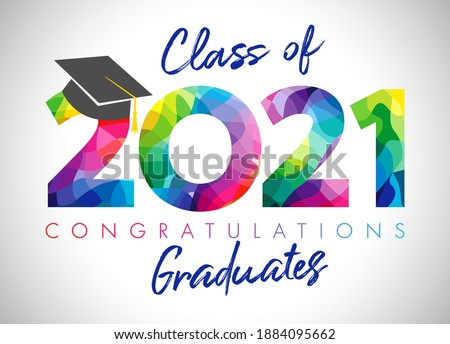 Class of 2021 year graduation banner, awards concept. Class off holiday colour invitation card. 3D digits 20, 21. Isolated abstract graphic design template. Brush stroke calligraphy. White background. Foto stock ©