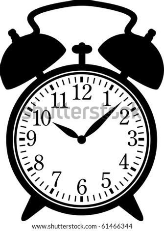 Classic alarm clock. Silhouette, black on white
