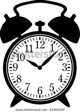 Classic alarm clock. Silhouette, black on white