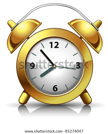 Classic alarm clock. Vector illustration.