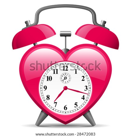 Classic alarm in heart shape - vector