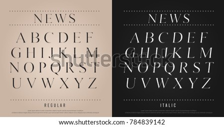 classic alphabet Uppercase lettering set. Exclusive Custom Letters. alphabet designs for logo, Poster, Invitation, etc. Typography font classic style, regular and italic vector illustrator