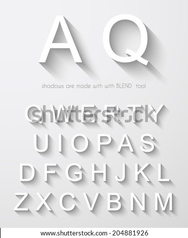 Classic alphabet with modern long shadow effect. Shadows has been made with blend and transparency so can be copied and paste on every background. #204881926
