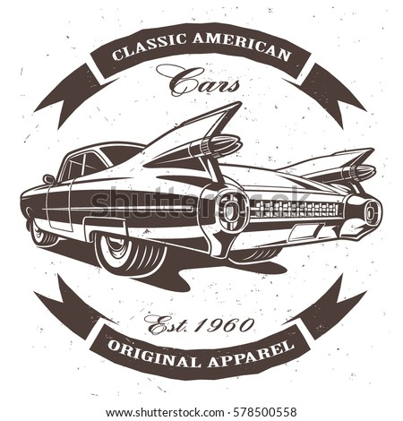 classic american car on white