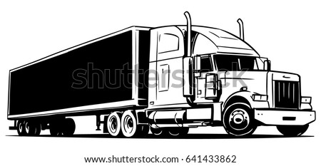 Royalty Free Drawing Of The Truck Transporting A Load