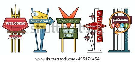 classic american signboards set ...
