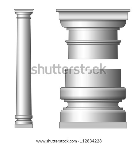 Classic Ancient Column. Vector illustration on white