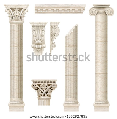 Classic antique marble columns in vector graphics and in different styles Photo stock ©