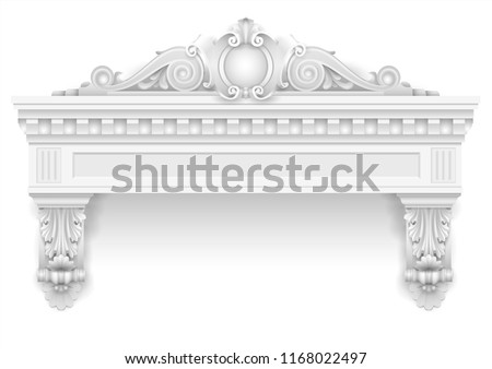 Classic architectural window facade decor for the facade of the arch or spent it. Set of vector elements. Transparent shadow.