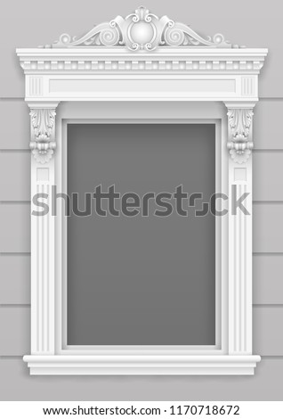 Classic architectural window facade decor for the frame. Set of vector elements. Transparent shadow.