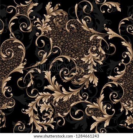 classic baroque seamless pattern. pattern witn leopard print. leopard skin pattern and baroque elements