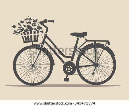 classic bike with flowers in