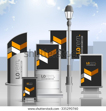 Classic black outdoor advertising design for corporate identity with yellow geometric elements. Stationery set