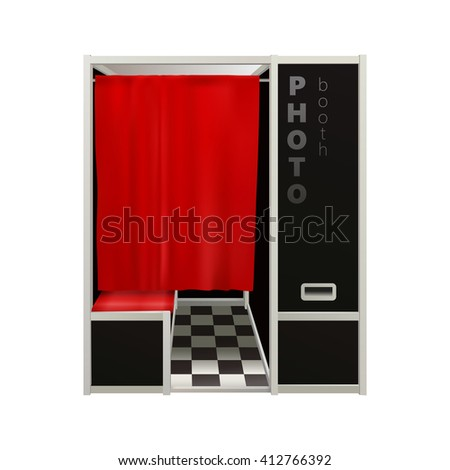 Shutterstock classic black photo booth with red curtain