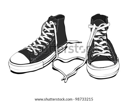 Classic Black&White Sneakers With Lovely Heart (good layer organized, fully editable, isolated on white)