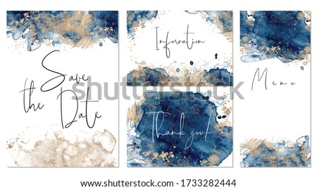 Classic blue and gold wedding set with hand drawn watercolor background. Includes Invintation, menu, information and thank you cards templates. Vector set