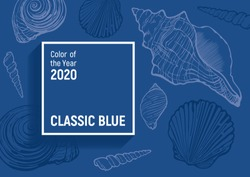 Classic blue - color of the year 2020. Pantone 19-4052. Trendy vector background with square frame.