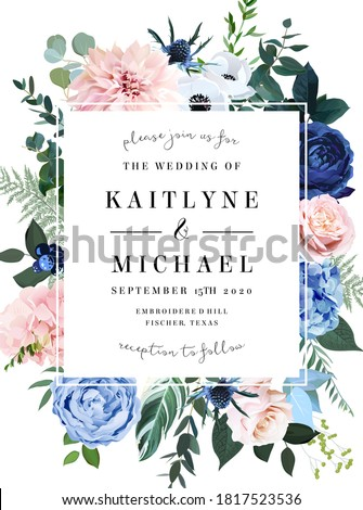 Classic blue rose, blush pink hydrangea, ranunculus, dahlia, thistle flowers, emerald greenery and eucalyptus leaves vector design frame.Trendy color wedding card template. Isolated and editable