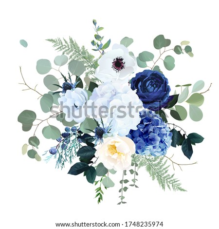 Classic blue rose, white hydrangea, ranunculus, anemone, thistle flowers, emerald greenery and eucalyptus, juniper leaves vector design bouquet.Trendy color wedding floral bunch. Isolated and editable