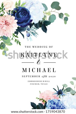 Classic blue rose, white hydrangea, ranunculus, dahlia, thistle flowers, emerald greenery and eucalyptus, juniper leaves vector design frame.Trendy color wedding card template. Isolated and editable