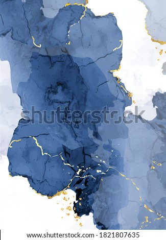 Classic blue watercolor fluid painting vector design card. Dusty navy and golden geode frame. Winter wedding invitation. Snow,ice or veil texture. Dye splash style. Alcohol ink. Isolated and editable