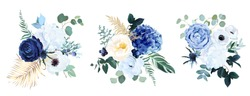 Classic blue, white rose, white hydrangea, ranunculus, anemone, thistle flowers, greenery and eucalyptus, juniper, gold tropical leaves vector bouquets.Trendy color collection. Isolated and editable