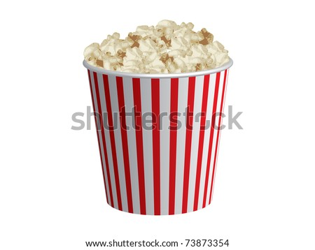 Classic box of red and white popcorn box isolated on white background